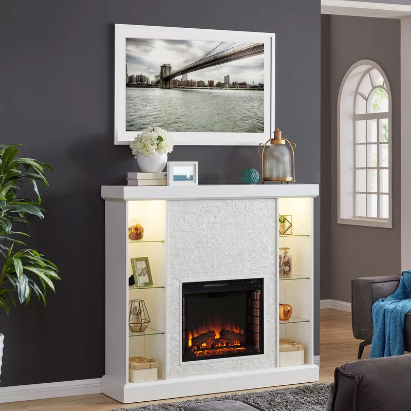 Alcott Hill Glass Shelf Fireplace