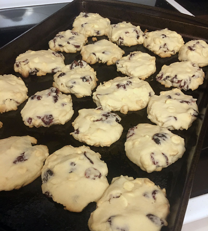 Cranberry White Chocolate Christmas Shortbread Cookies Fresh Out of the Oven