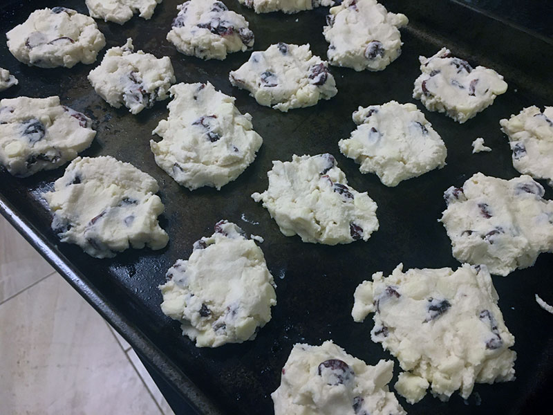 Cranberry White Chocolate Christmas Shortbread Cookies on a Cookie Sheet