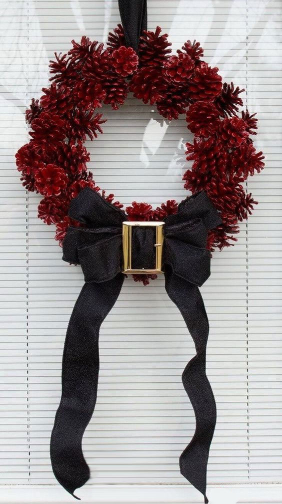 DIY Pinecone Santa Wreath