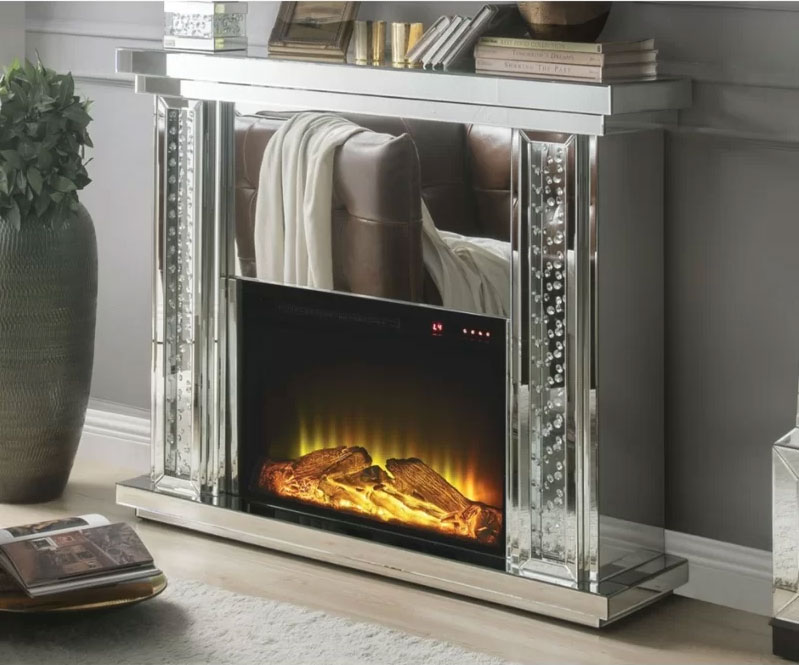 Everly Quinn Milo Mirrored Fireplace