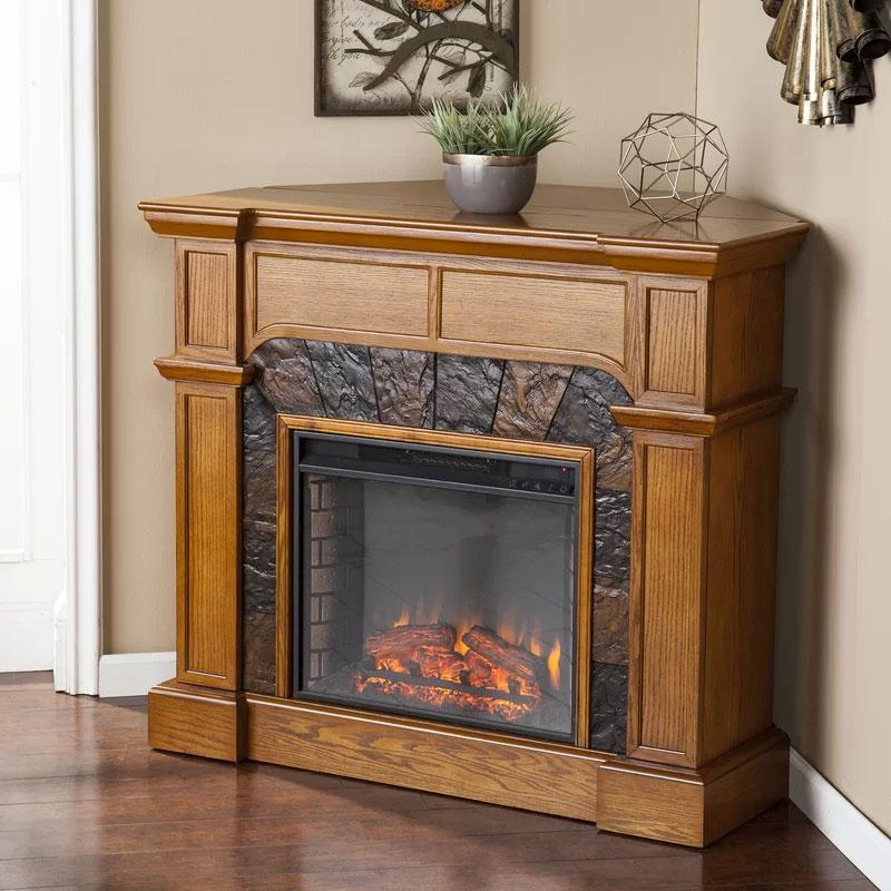 Henjes Mission Oak Corner Fireplace