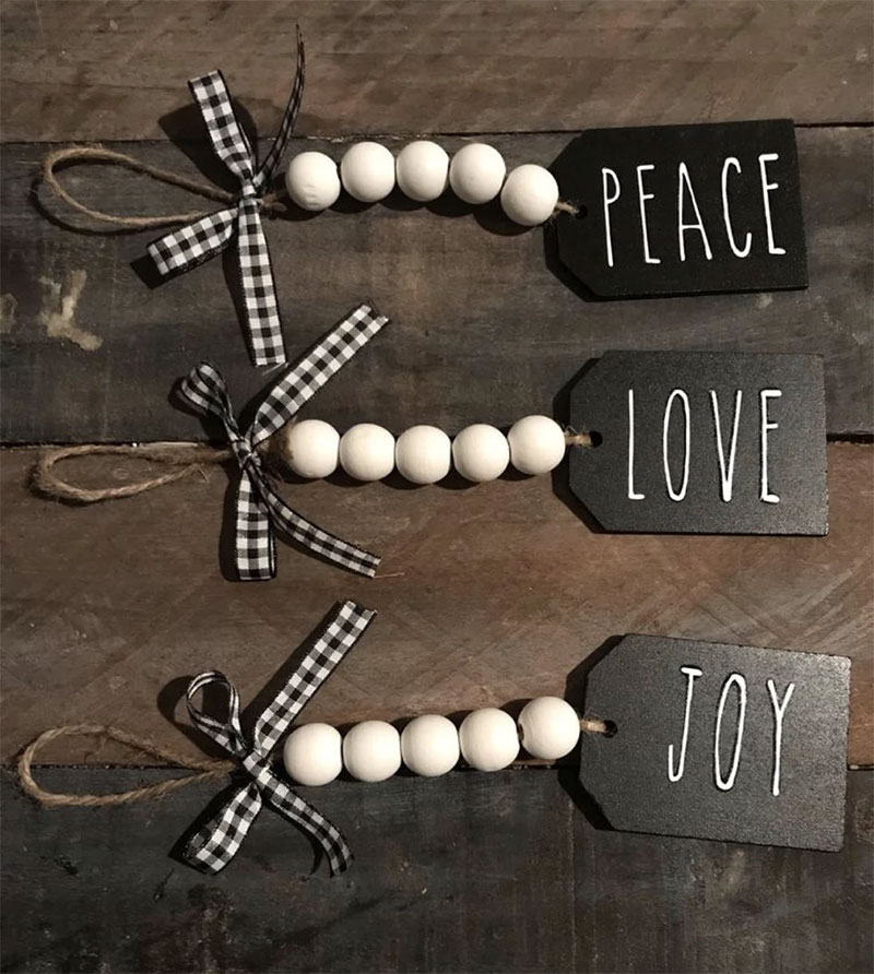 Peace, Love, & Joy Wood Bead Tags DIY Christmas Gifts