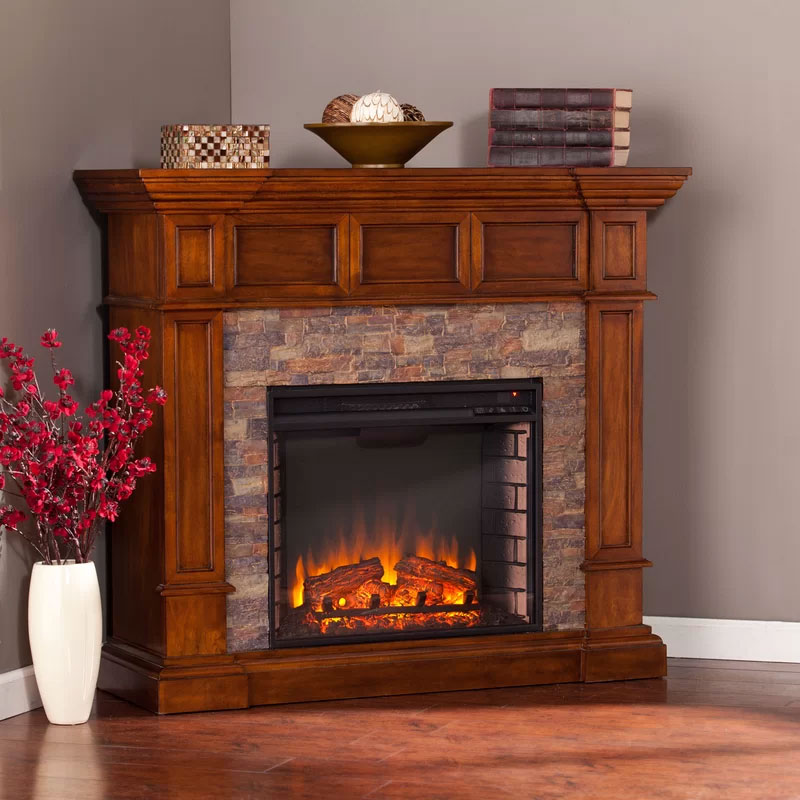Sherrie Simulated Stone Convertible Fireplace