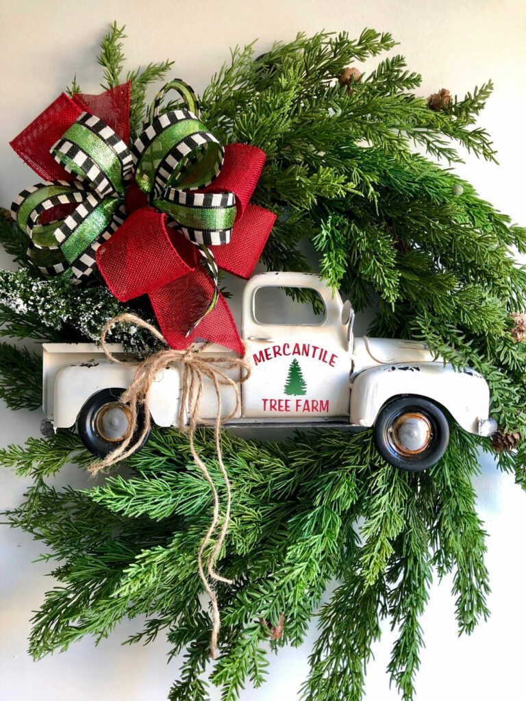 White Vintage Truck Christmas Wreath