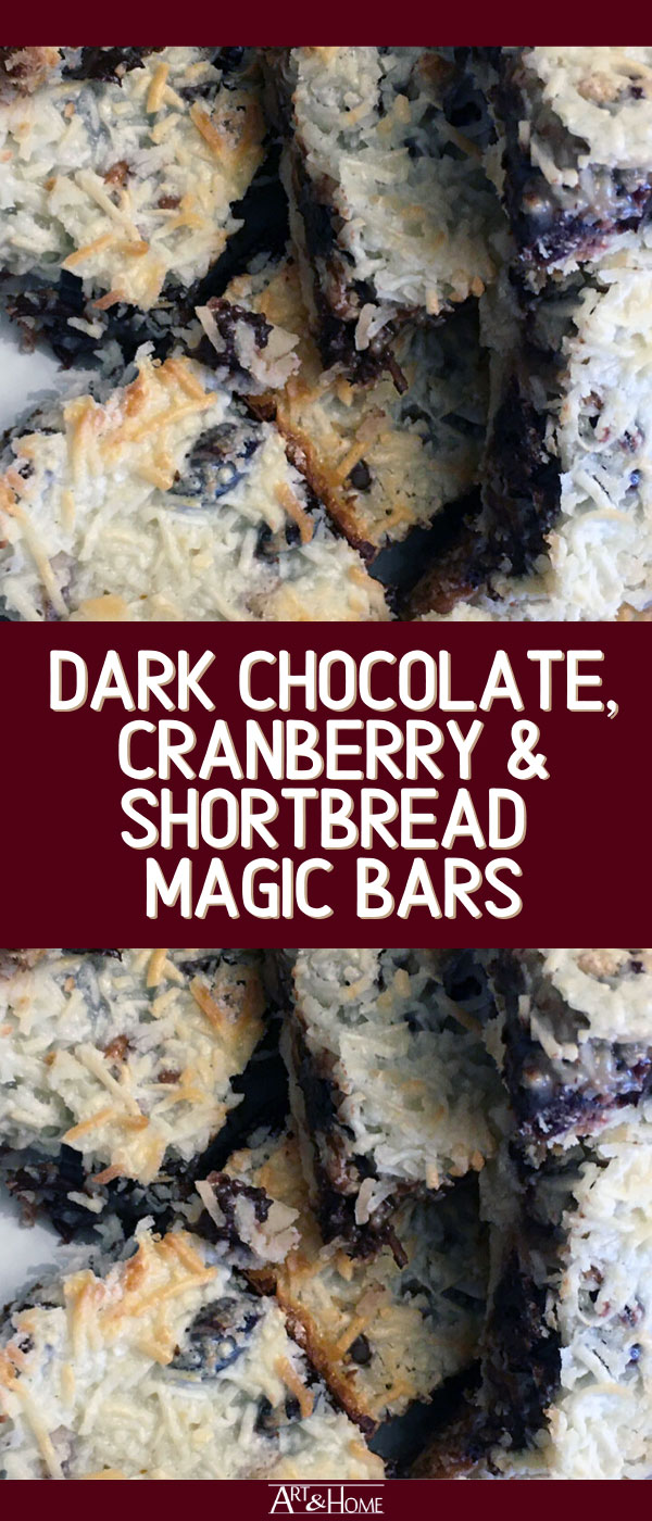 This Dark Chocolate Cranberry Shortbread Magic Bar recipe combines three of my favorite baking recipes, Dark Chocolate & Cranberry cookies, Shortbread, and Magic Bars into one delicious Christmas treat.