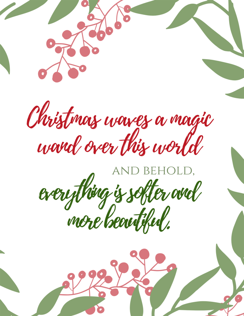 Christmas waves a magic wand printable quote