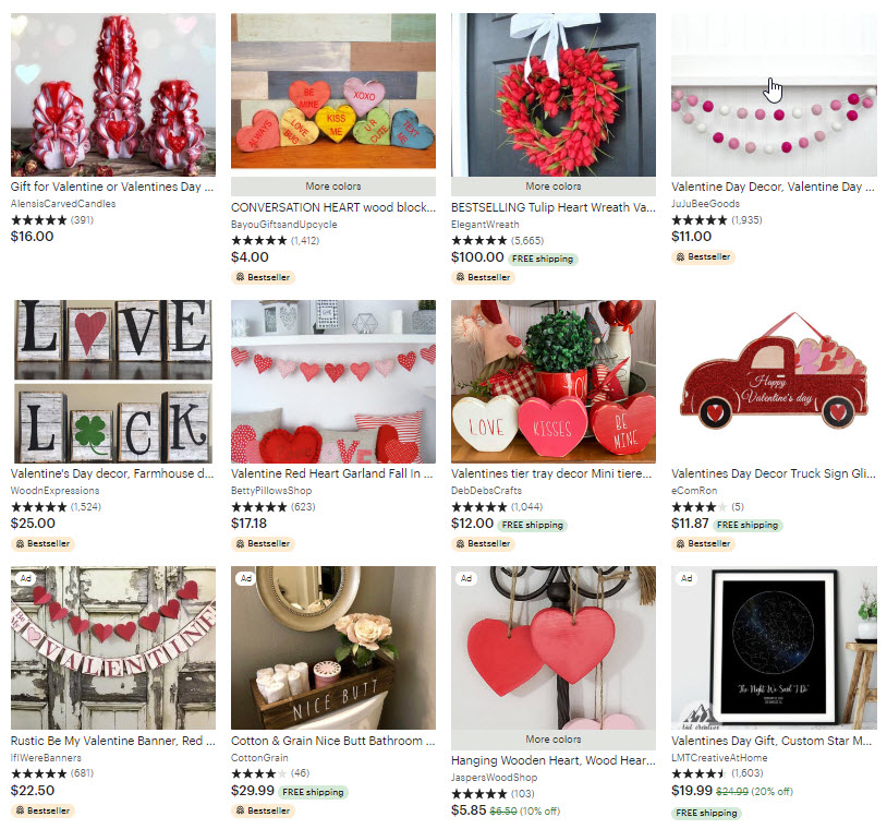 Etsy Valentines Day Collection