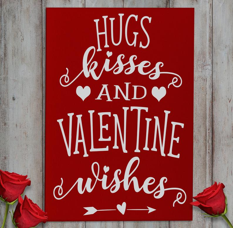 Hugs, Kisses, & Valentine Wishes Wall Plaque