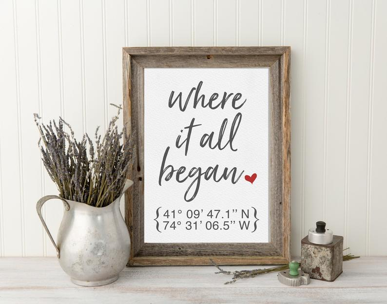 """Personalized """"Where It All Began"""" Valentine's Day Sign"""