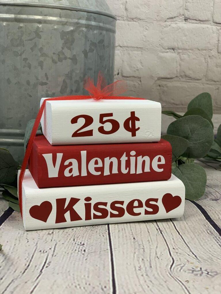 Valentine's Day Kisses Decorative Stacker Blocks