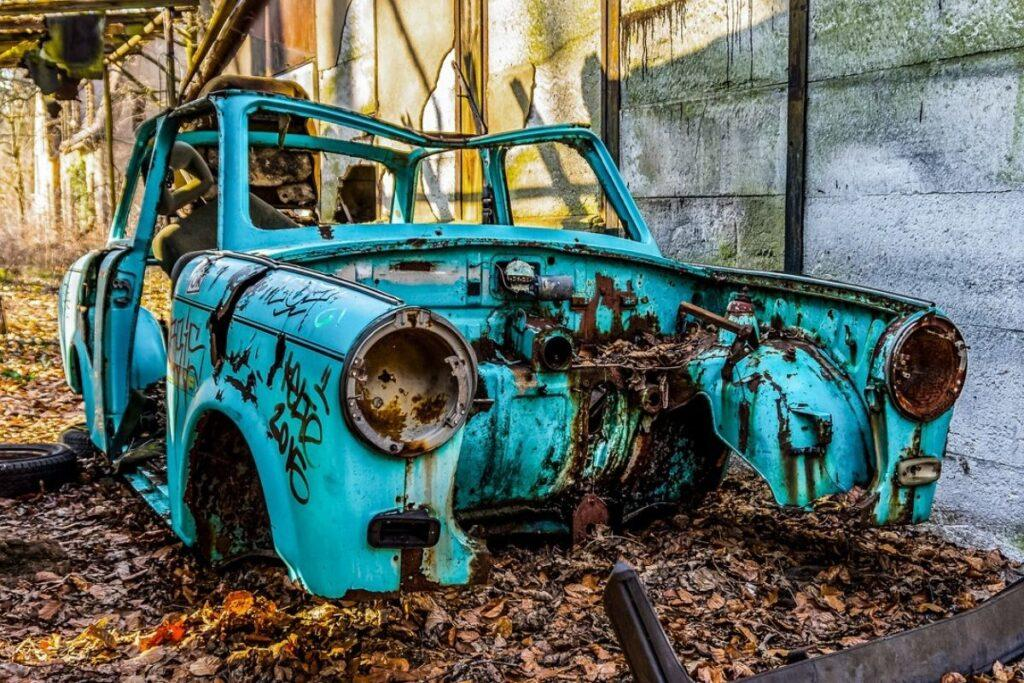 Abandoned Car Covered with Graffiti
