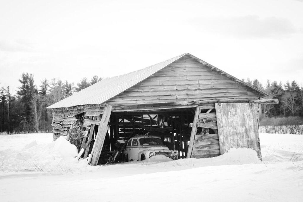 Abandoned Car in Dilapidated Barn