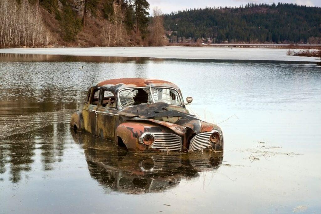 Abandoned Car in a Lake