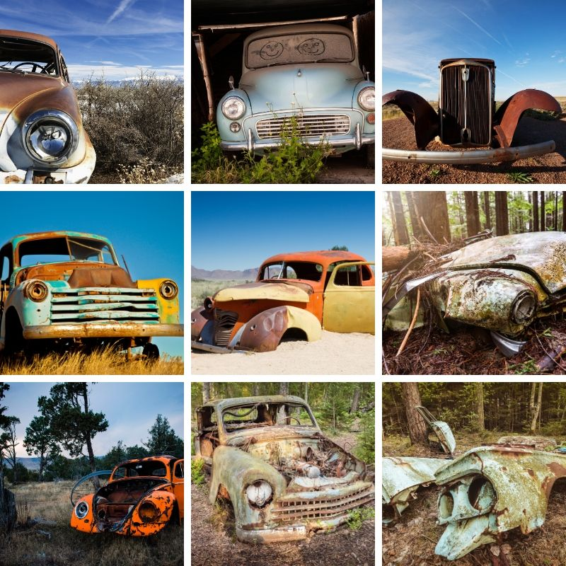 Abandoned Cars Collage