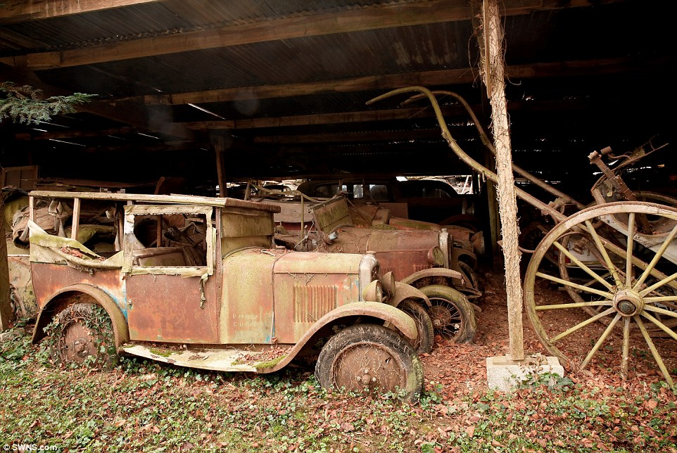 A collection of vintage cars was left behind for 50 years on Roger Baillon's Farm in France