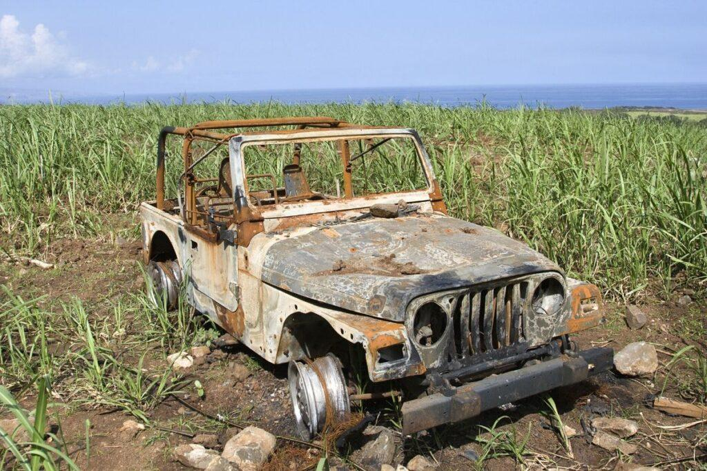 Abandoned Jeep in Field