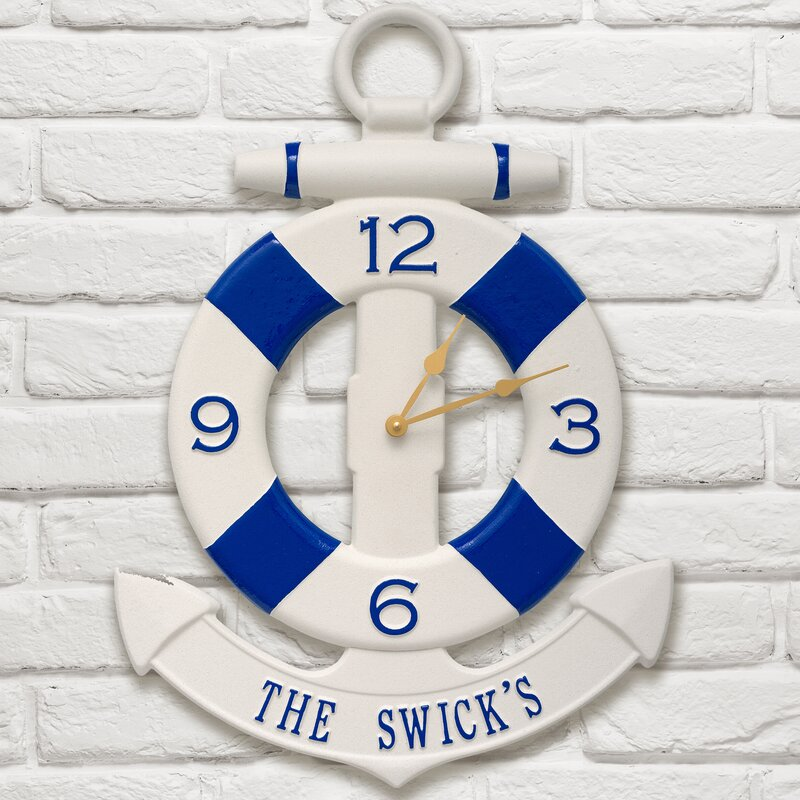 Anchor and Buoy Personalized Nautical Wall Clock