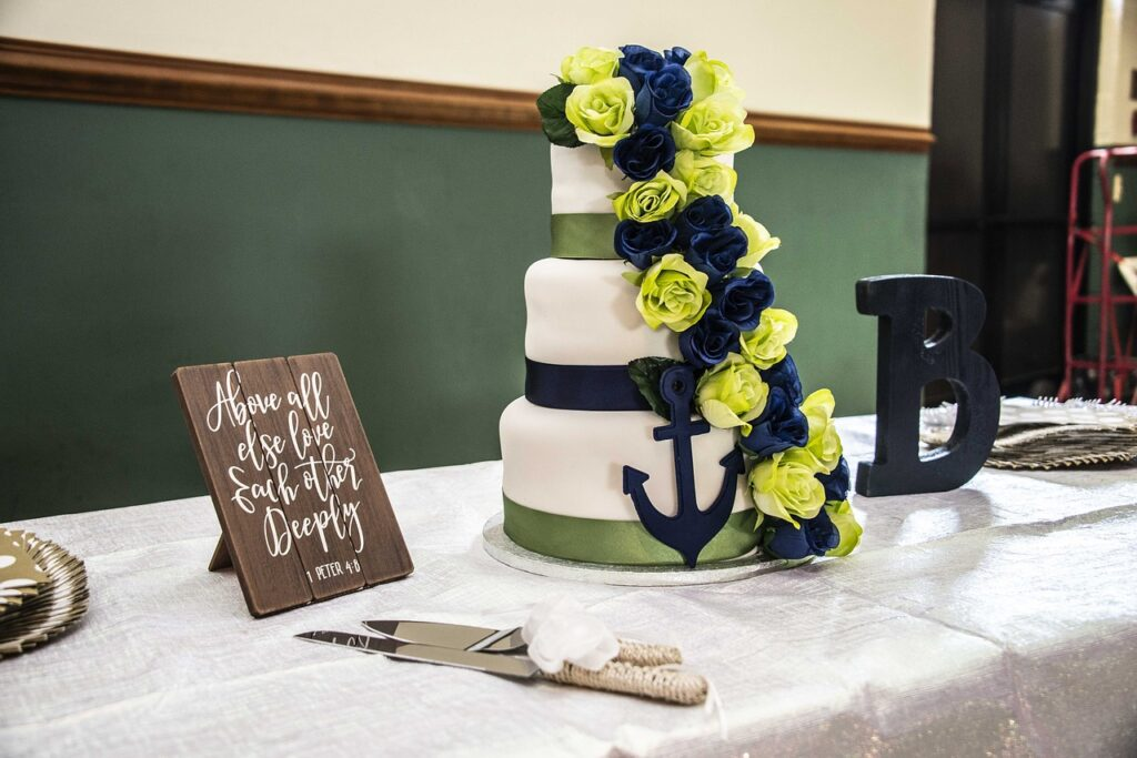 Anchors Away Nautical Wedding Cake