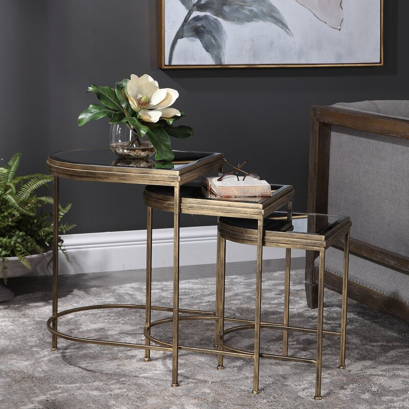 Aquilar 3 Piece Gold Nesting Tables