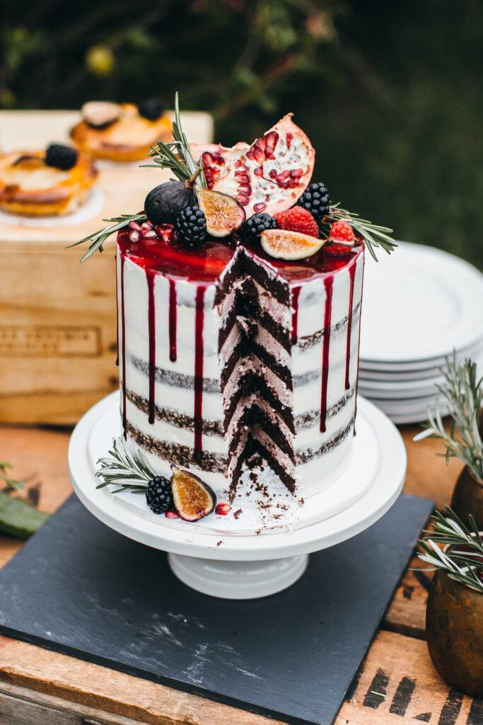 Berry Wedding Cake with Dripping Glaze by Erica Obrien