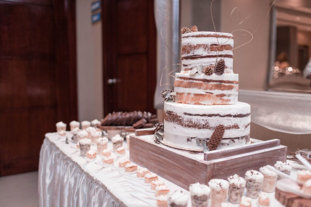 Birch Bark and Pine Cones Nearly Naked Wedding Cake