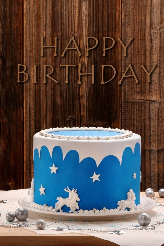 Blue Birthday Cakes - Horses & Stars
