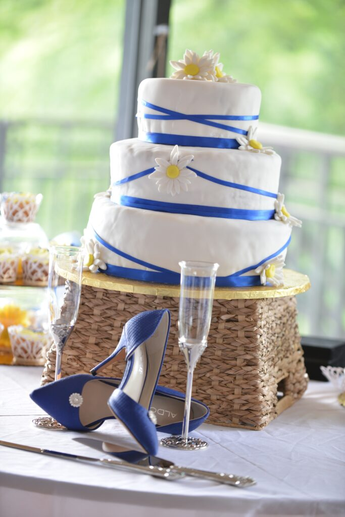 Blue Ribbons Wedding Cake
