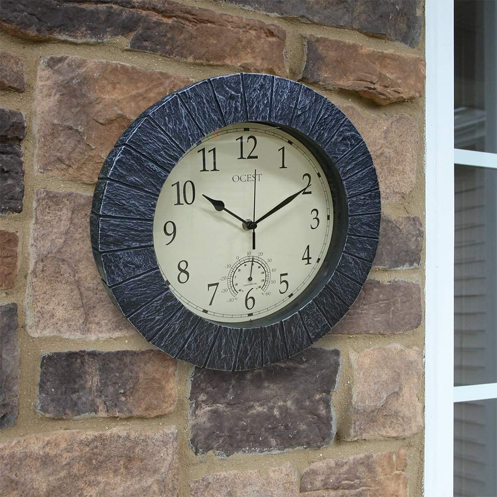 Blue Stone Outdoor Wall Clock
