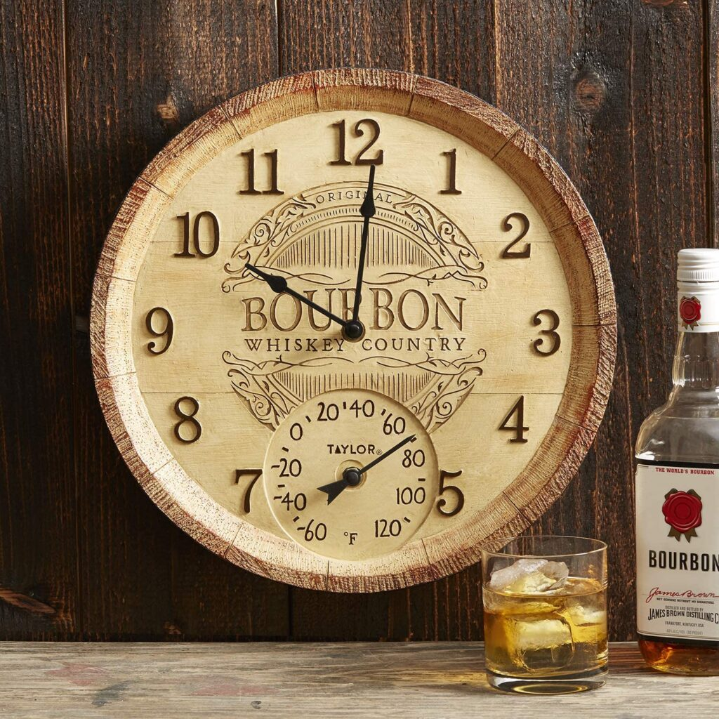 Bourbon Barrel Outdoor Clock with Thermometer