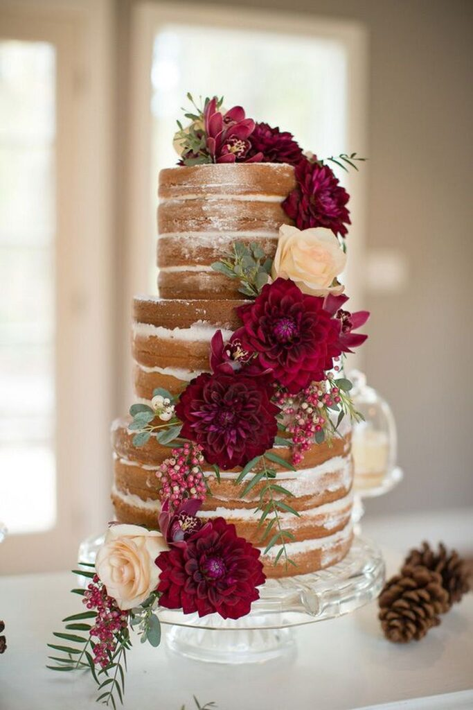 Burgundy Dahlia Naked Wedding Cake photo by Ashley Cook Photography.