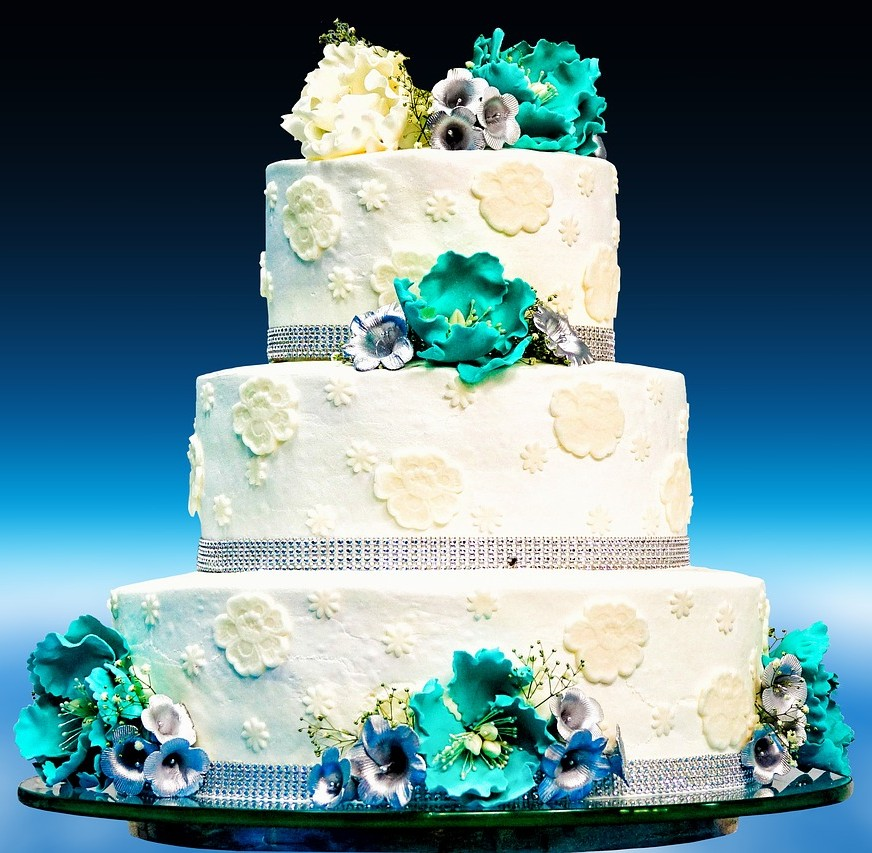 Bursting with Flowers Wedding Cake