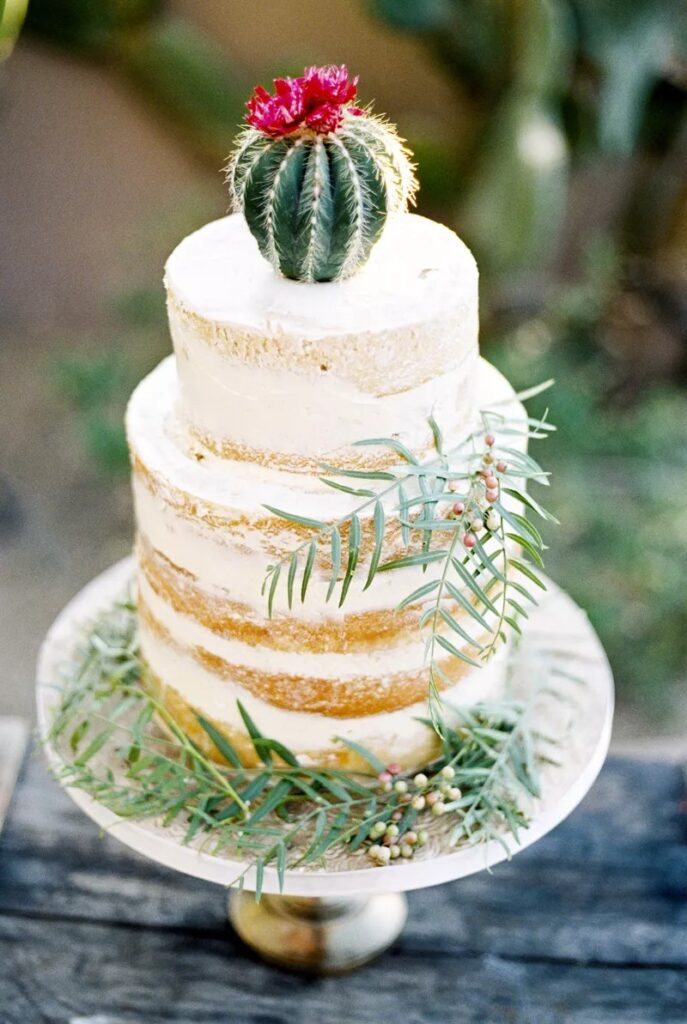 Cactus Wedding Cake photo by Ashley Rae Photography
