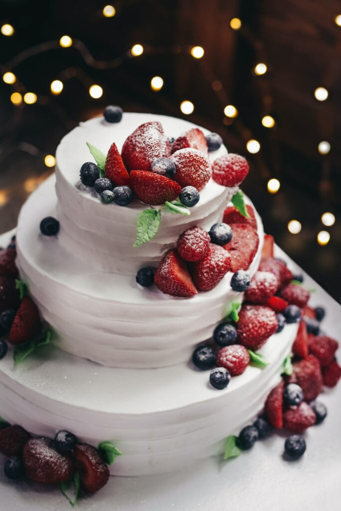 Cascading Berries Wedding Cake