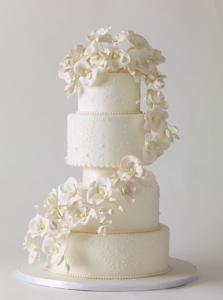 Cascading Orchids Wedding Cake phot by Philip Ficks