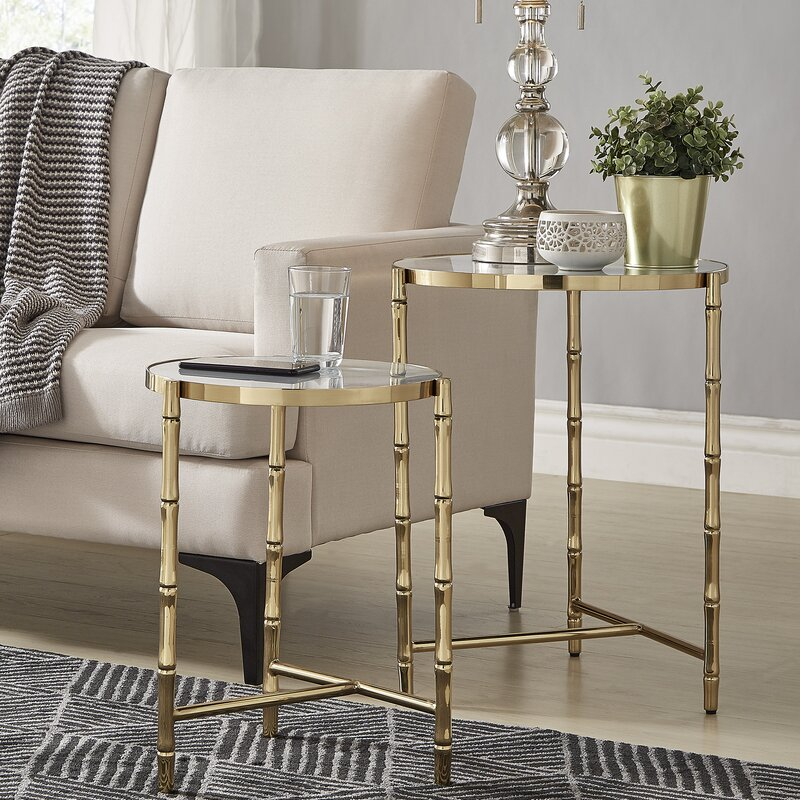Conlon Bamboo-Look Gold Nesting Tables