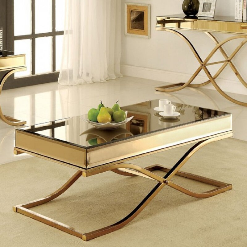 Crossley Mirror Top Gold Coffee Table