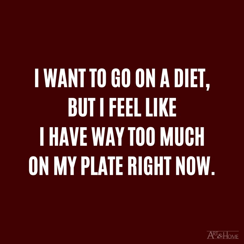 I want to go on a diet, but I feel like I have way too much on my plate right now.