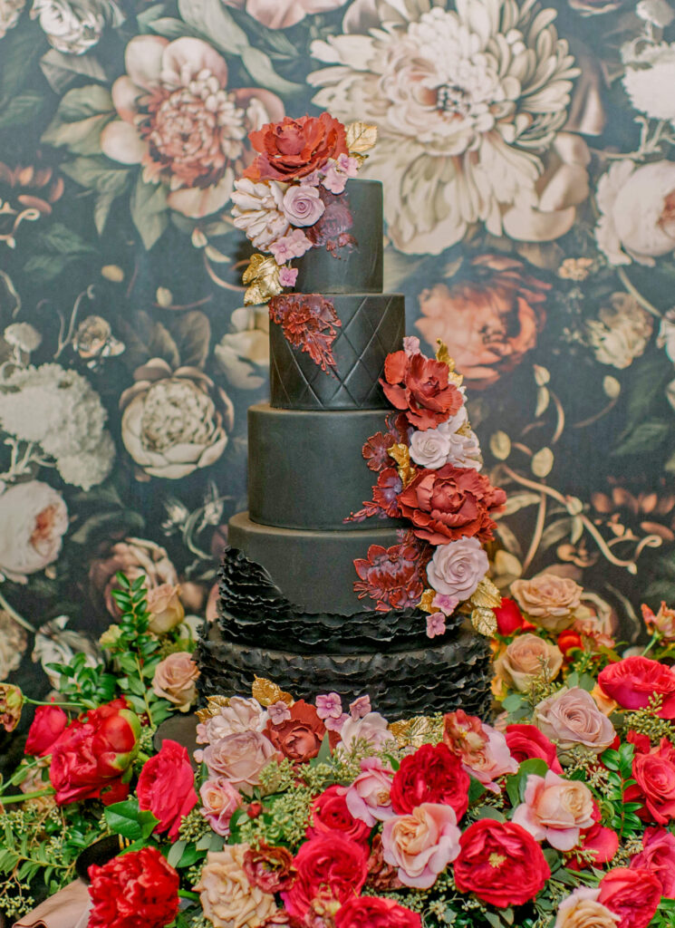 Dramatic Black Wedding Cake by The Vanilla Bakeshop in California