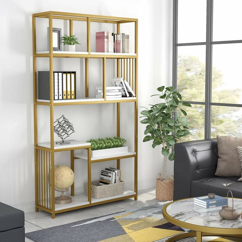Drennan Geometric Gold Bookcase
