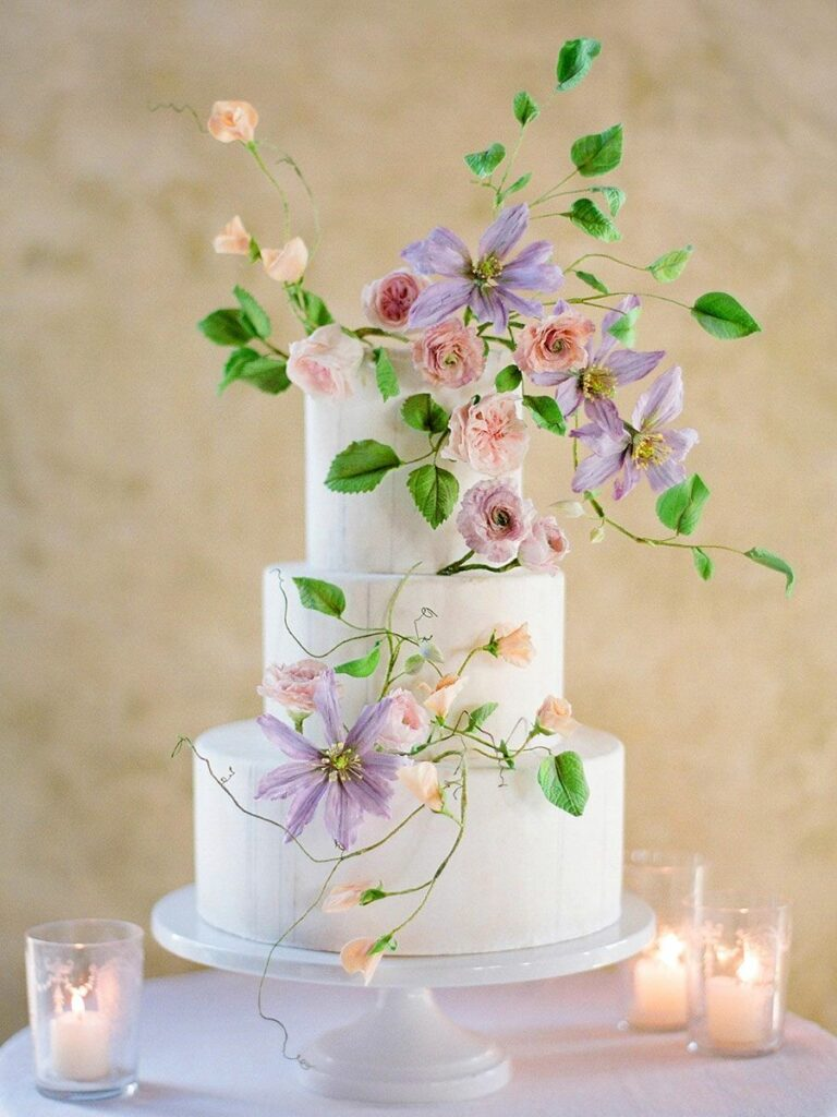 Elegant Blooms Wedding Cake photo by Jose Villa
