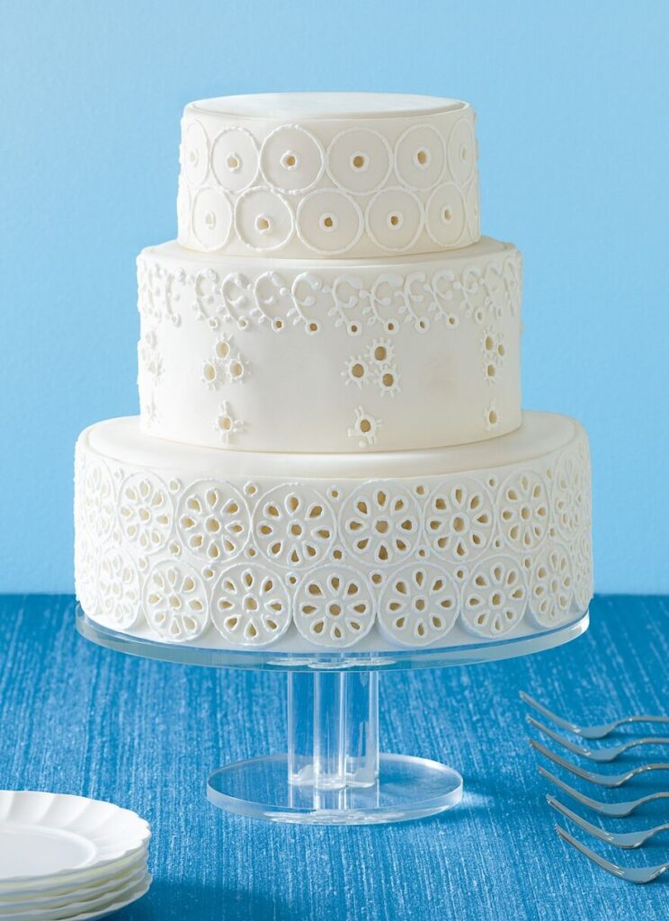 Eyelet Lace Wedding Cake photo by Andrew McCaul
