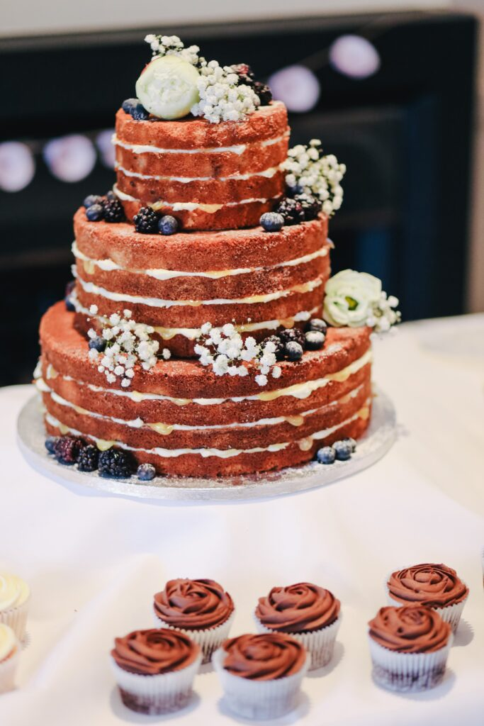 Field Berries Naked Wedding Cake