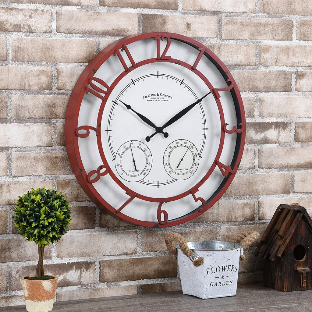 FirsTime & Co. Red Laguna Outdoor Clock