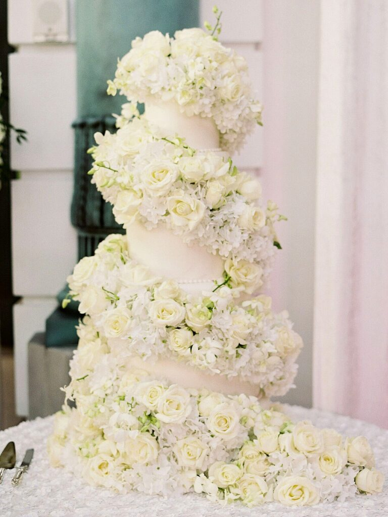 Floral Swirl Wedding Cake photo by Jessica Lorren Photography