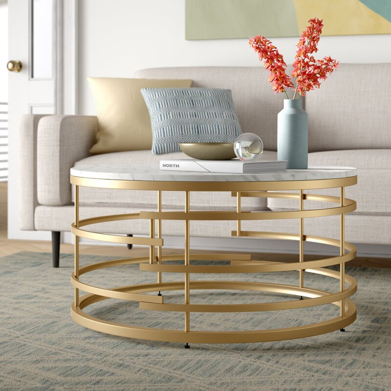 Foundstone Frame Gold Circular Coffee Table