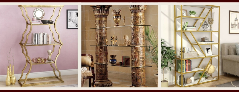 Gold Living Room Furniture | Gold Bookcases & Shelves