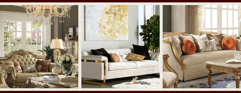 Gold Living Room Furniture | Gold Sofas and Love Seats
