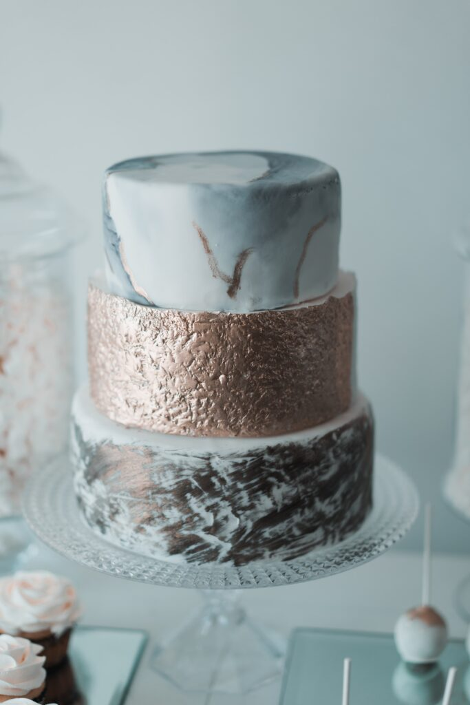 Gold and Marble Three-Tier Cake