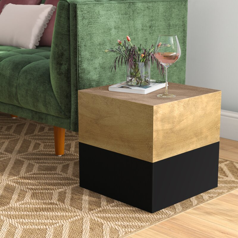 Kaj Black & Gold Square End Table